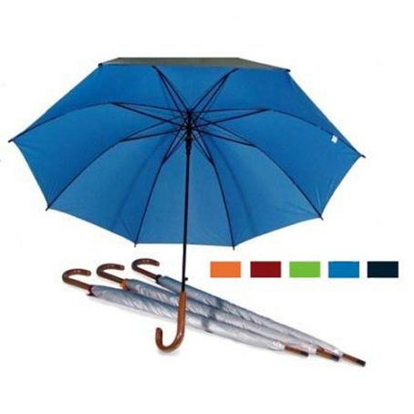 8306 27 Inch Auto Open UV Coated w Wood Handle Umbrella
